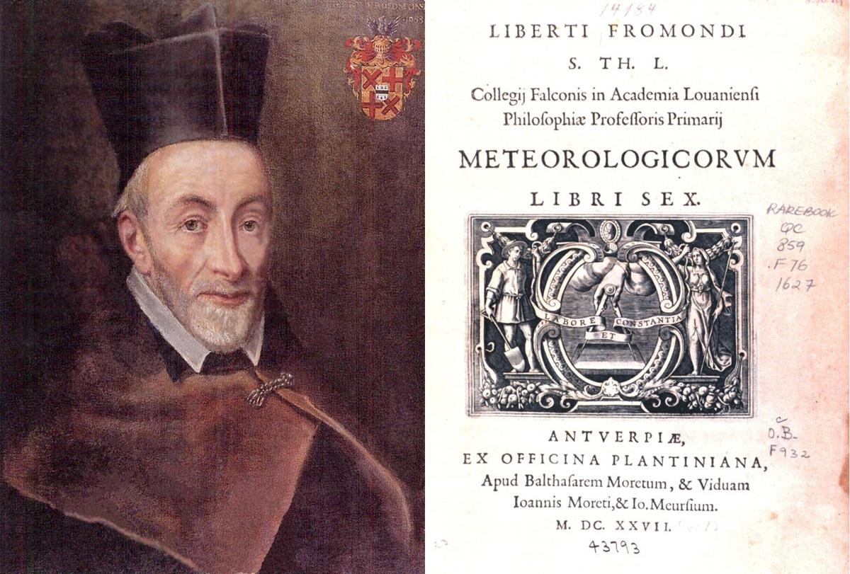 """Libert Froidmont en het titelblad van zijn werk """"Meteorologicorum Libri Sex"""", uitgave gedrukt bij Plantijn-Moretus te Antwerpen in 1646"""