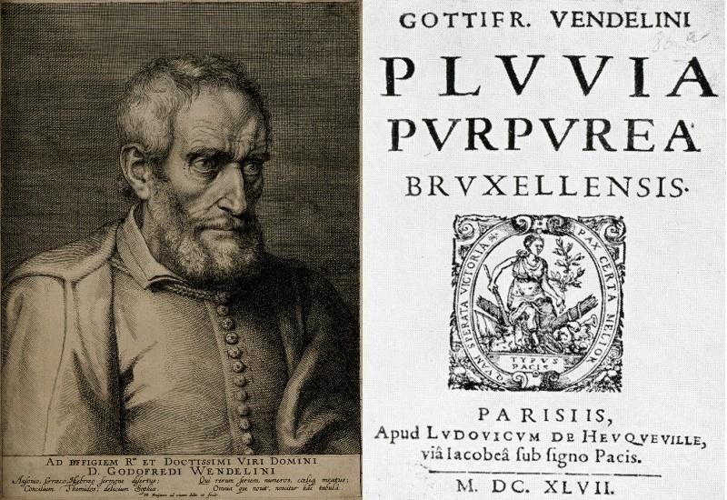 """Godefroid Wendelin en het titelblad van zijn publicatie """"Pluvia purpurea Bruxellensis"""" gedrukt te Parijs in 1647"""