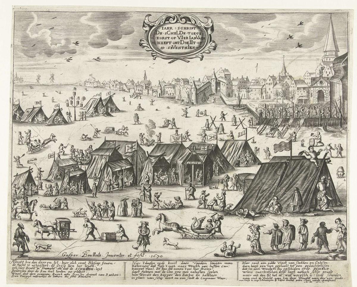 IJsvermaak op de, van 2 tot 17 januari 1670, bevroren Schelde bij Antwerpen.