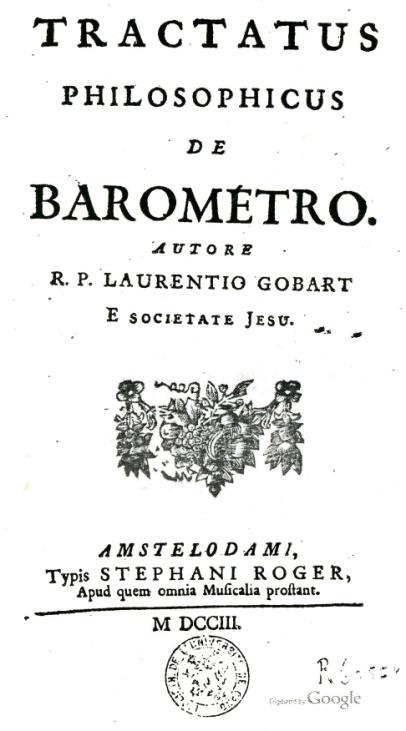"""Page titre de """"Tractatus philosophicus de barométro"""" de Laurent Gobart (1658-1750)."""