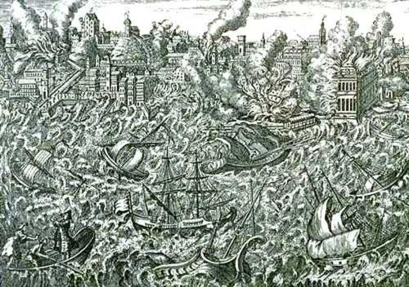 Le Grand Tremblement de Terre de Lisbonne (GTL) du 1er novembre 1755. On remarque les ravages et la ville en flammes et en arrière-plan, le tsunami qui s'engouffra dans l'estuaire du Tage.
