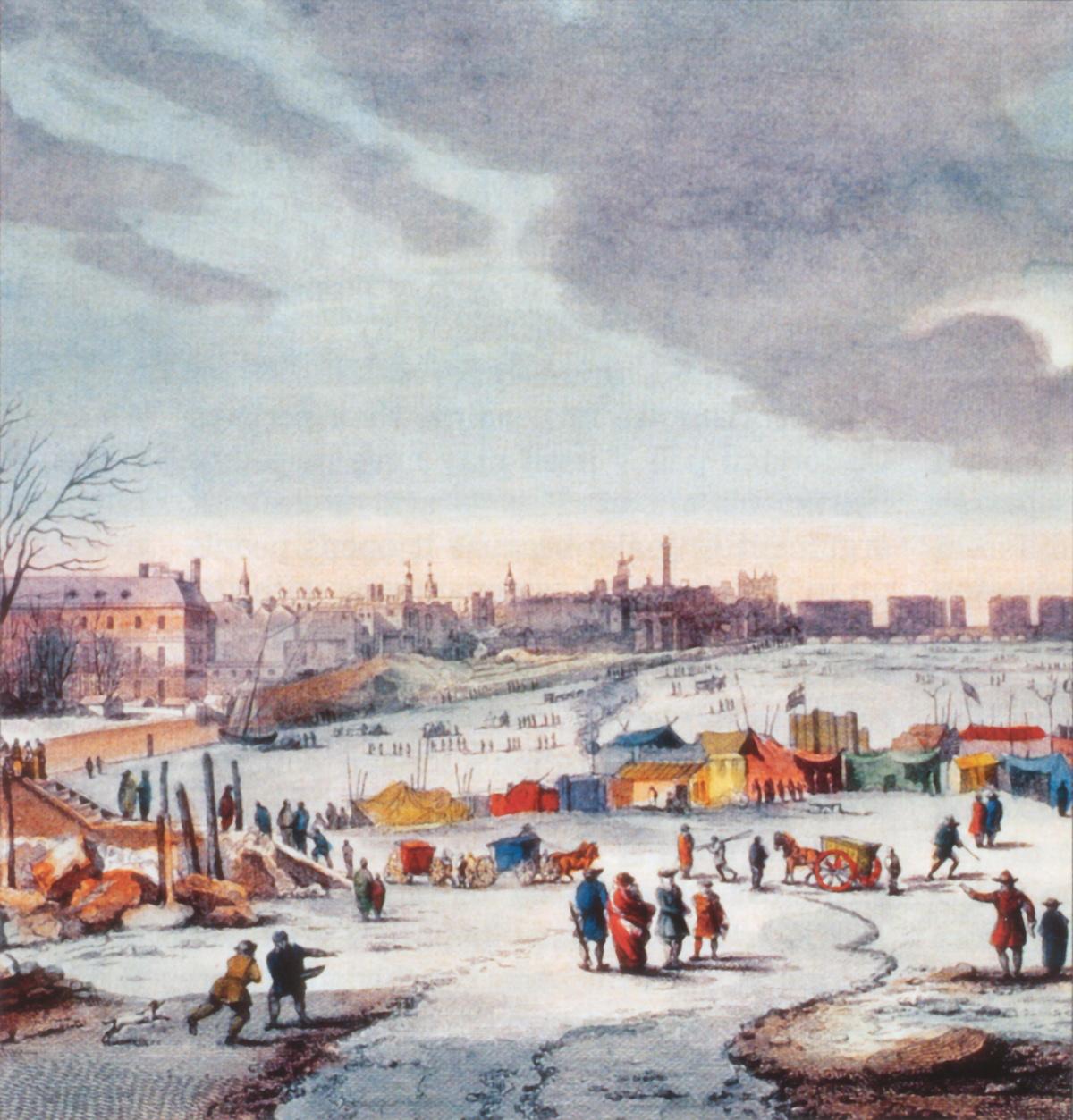 Plaisirs d'hiver sur la Tamise à Londres au cours de l'hiver 1683.