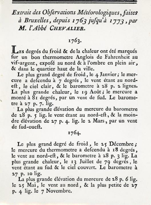 """De weerkundige waarnemingen van Abbé Chevalier in 1763 te Brussel werden gepubliceerd in de """"Mémoires"""" van de Brusselse Academie."""
