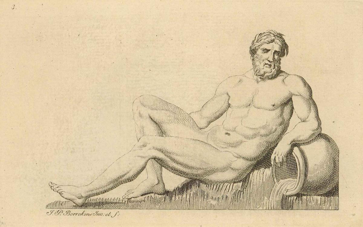 """""""Scaldis"""" ou """"l'Escaut"""", une des statues en neige réalisées à Anvers au cours de l'hiver 1771-1772. Source: Erfgoedbibliotheek Hendrik Conscience, Antwerpen, catalogusnummer K 7622."""
