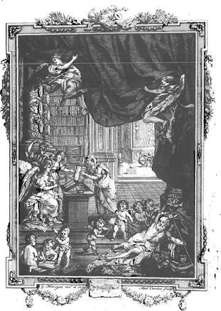 """""""Frontispice"""" - illustration tirée d'un livre, qui se trouve à la page 3 (la page faisant face à la page de titre) des """"mémoires"""" de l'Académie de Bruxelles."""