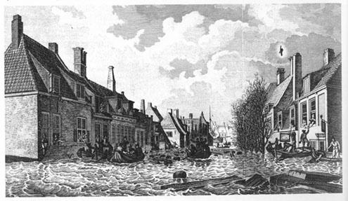 De Palingstraat te Vlissingen in Zeeland tijdens de watersnood van 14 op 15 januari 1808.