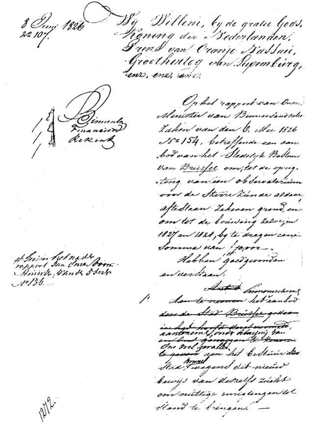 Stichtingsakte van de Koninklijke Sterrenwacht van Brussel ondertekend door Koning Willem I, Koning der Nederlanden op 6 juni 1826.
