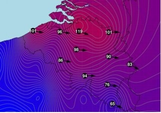 Hoogst gemeten windsnelheden op 18 januari 2018