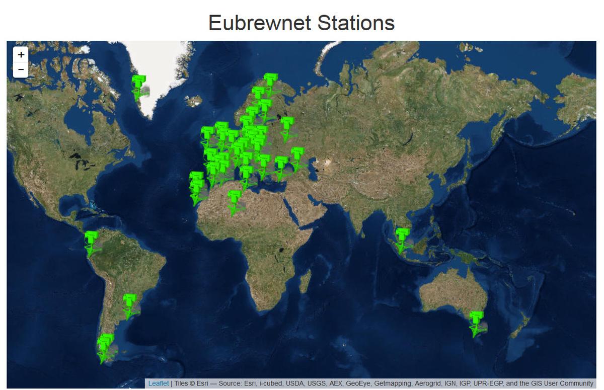 Figure 2 : Aperçu de la répartition des stations qui transmettent leurs mesures vers la base de données Eubrewnet.