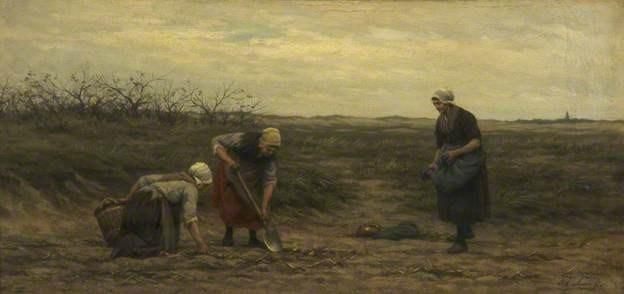 Philip Lodewijk Jacob Frederik Sadée (1837-1904), La récolte de pommes de terre (Potato digging) 1875, Whitworth Art Gallery, University of Manchester, huile sur bois, 28.4 x 59.1 cm.