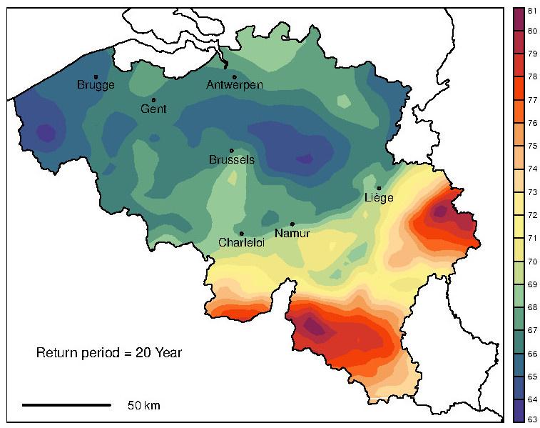 Carte des cumuls de précipitations sur 24h correspondant à une période de retour de 20 ans en Belgique (mm).