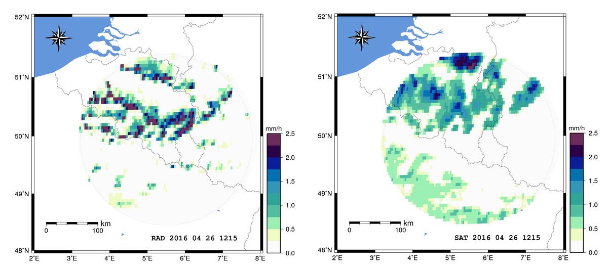 Comparaison entre les données de précipitations du radar météorologique de l'IRM à Wideumont et des estimations satellitaires du projet H-SAF (produit de précipitations H03) pour le 26 avril 2016.