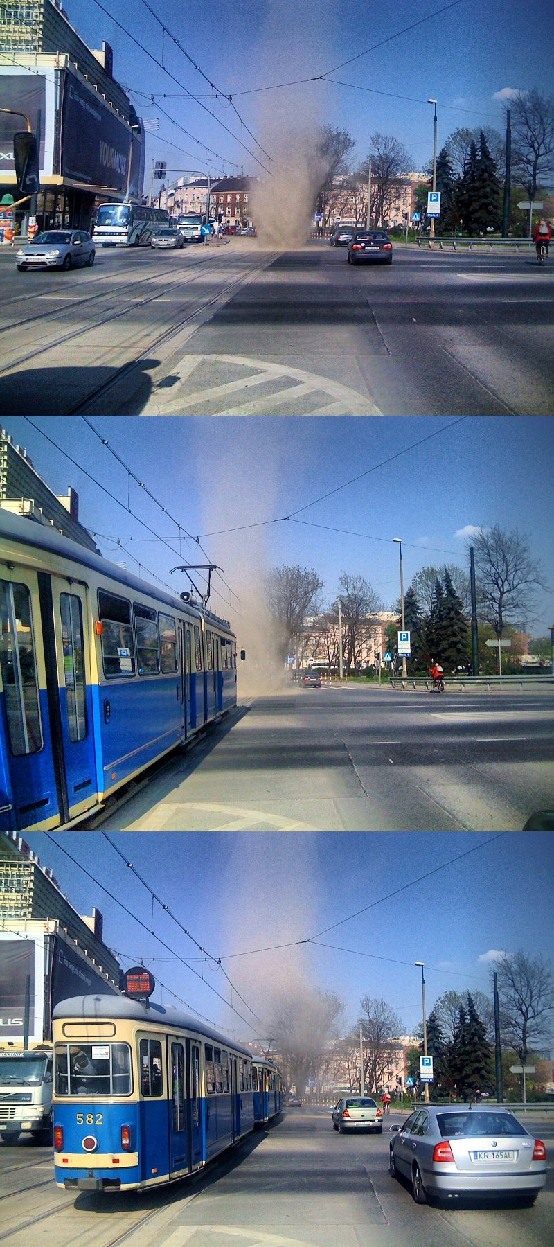 Dustdevil in Krakow (Polen). Bron: KHRoN (Own work)