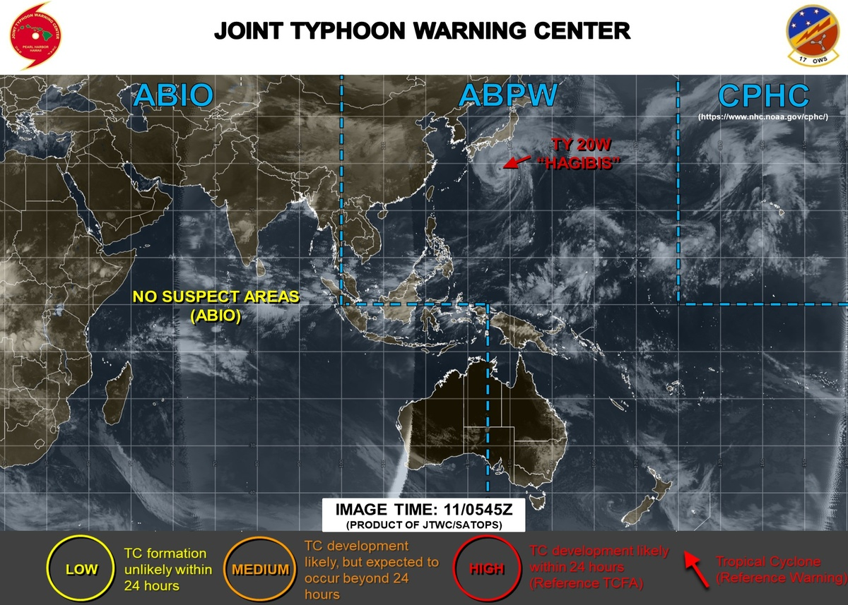 Bron: JTWC, locatie van tyfoon Hagibis op 11 oktober 2019