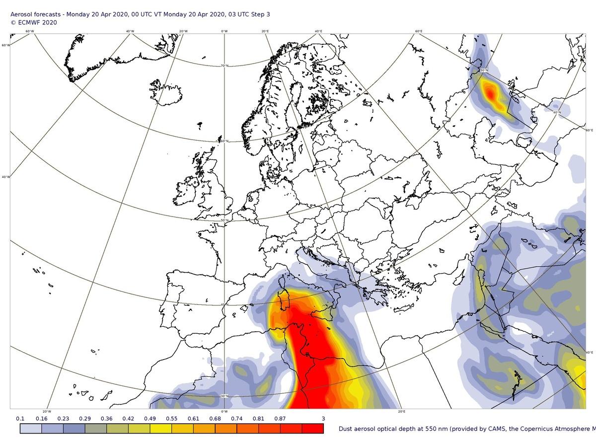 """Prévisions de la profondeur optique des aérosols au-dessus de l'Europe.  Cette profondeur optique (""""épaisseur optique des aérosols"""" ou AOD) est une mesure de l'extinction du rayonnement solaire par les particules d'aérosol (Source : ECMWF)."""