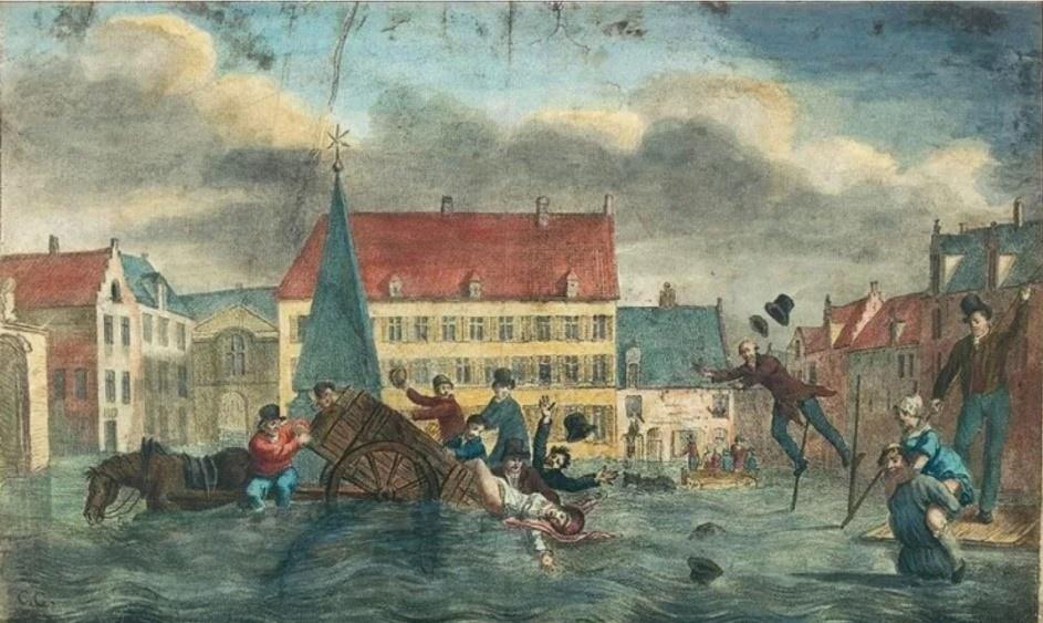 Karikatuur van het Sint-Goriksplein, Brussel, tijdens de overstroming van de Zenne in januari 1820 (ref. K-573 van het Archief van de Stad Brussel).