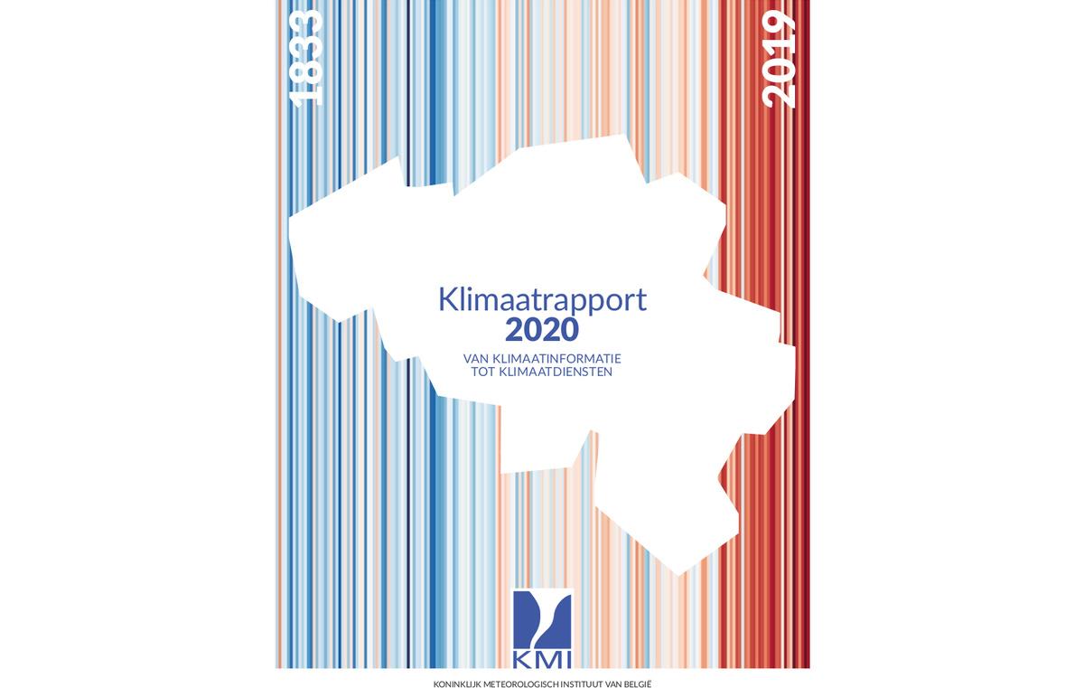 Cover van het klimaatrapport met we 'warming stripes' als achtergrond.