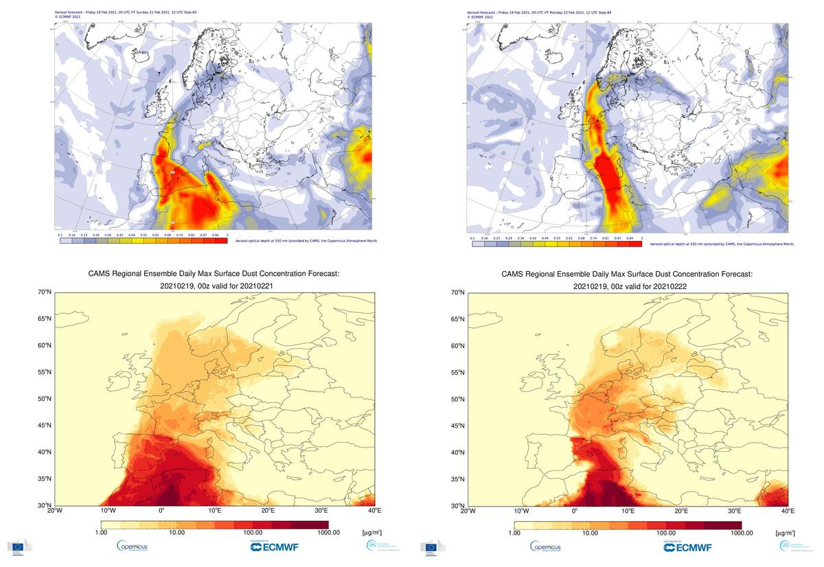 Au-dessus : CAMS prévision globale de la profondeur optique des aérosols du 19 février 2021, valable pour dimanche (à gauche) et lundi (à droite). Ci-dessous : Prévisions régionales du CAMS du 19 février 2021 concernant les concentrations maximales de particules en surface dues à la poussière, valables pour dimanche (à gauche) et lundi (à droite). Crédit : Service de surveillance de l'atmosphère Copernicus/ECMWF
