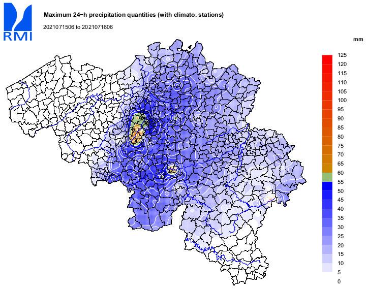 Cartes provisoires des quantités de précipitations relevées entre les 14 et 15 juillet 8h TL, et entre les 15 et 16 juillet 8h TL