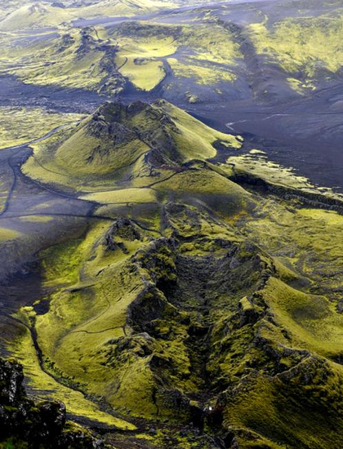 Le cratère de l'éruption volcanique du Lakagigar en Islande en 1783-1784.