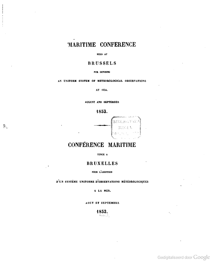 "Titelblad van de Proceedings van de ""Maritime Conference for Devising an Uniform System of Meteorological Observations at Sea"" gehouden te Brussel, augustus – september 1853"
