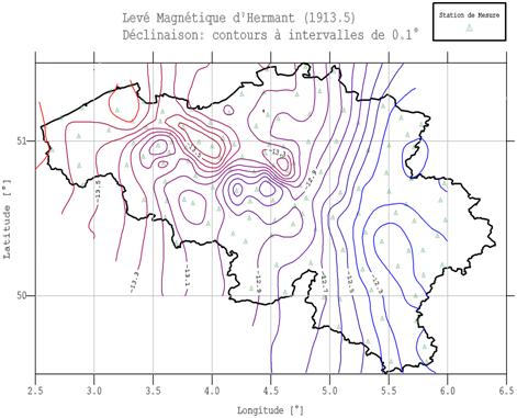 La carte des isogones réduite à l'époque 1913.5, dans les frontières actuelles de la Belgique. Cette carte est dressée sur base des mesures réalisées par Albert Hermant entre 1911 et 1914 ; on note l'absence d'observations dans les cantons de l'Est.