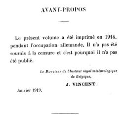 L'avant-propos de l'annuaire de l'Institut Royal Météorologique de Belgique pour l'année 1915, où le directeur Jean Vincent explique qu'il a refusé de publier le texte pour ne pas le soumettre à la censure allemande