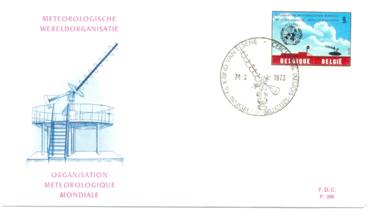 Enveloppe avec un timbre spécial représentant l'antenne ATP, créé à l'occasion du centenaire de l'Organisation Météorologique Internationale