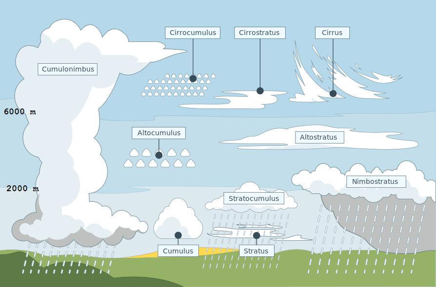 Les 10 genres de nuages. Le nimbostratus est le nuage classique de pluie, tandis que le cumulonimbus