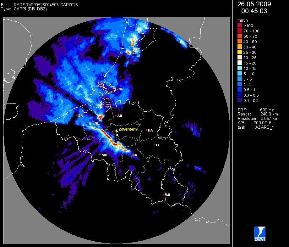 Le radar de Zaventem (Belgocontrol) montre une ligne de grains très active le 26 mai 2009. Au nord-
