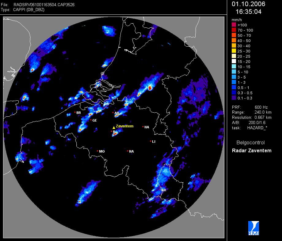 Une image radar de Zaventem (Belgocontrol) présentant une situation exceptionnelle le 1 octobre 200