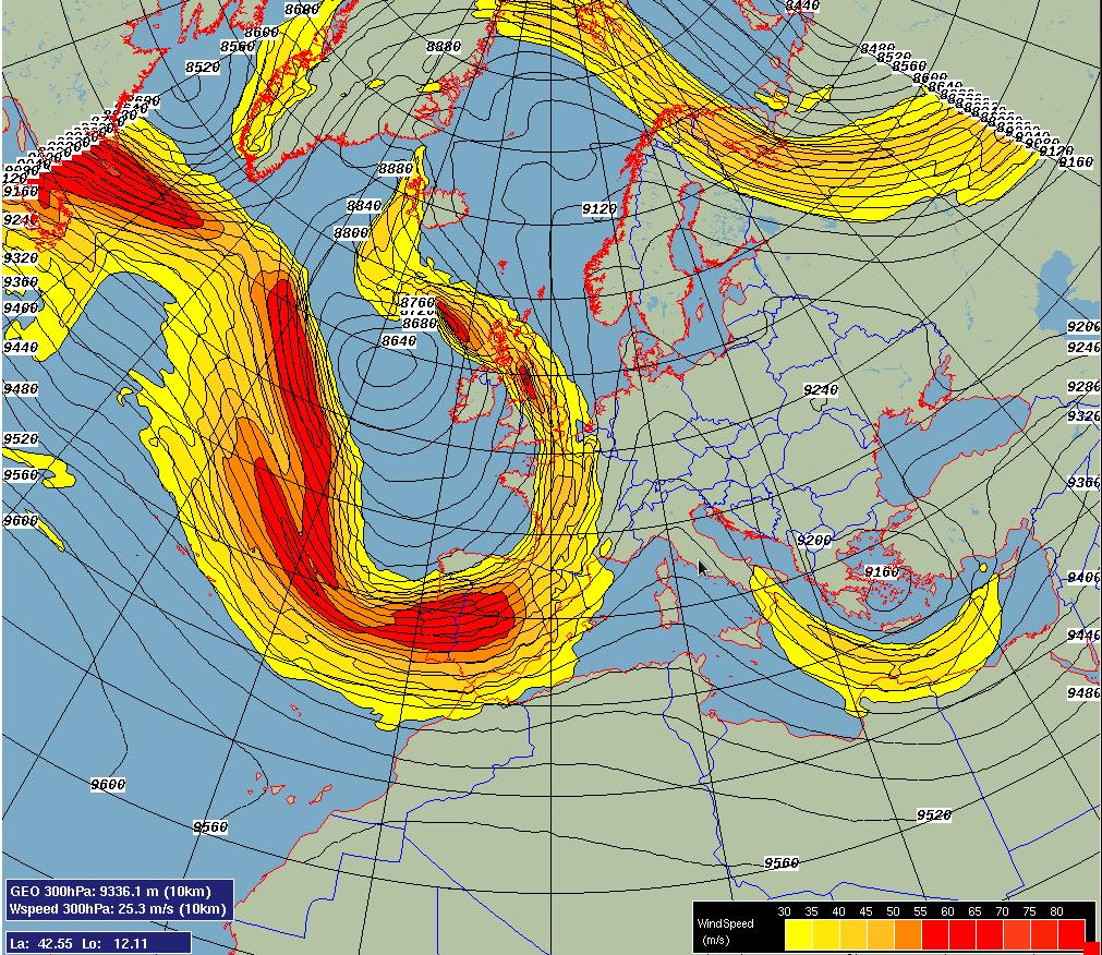 Figure 2. La vitesse du vent est exprimée en m/s, pour une pression correspondant à 300 hPa. Le co