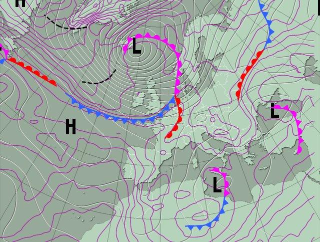 Figure 2. La Belgique se situe dans un secteur chaud. Un front d'occlusion s'étend à partir de