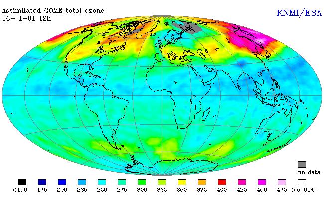 Vue d'ensemble de l'épaisseur de la couche d'ozone, obtenue par assimilation de différentes