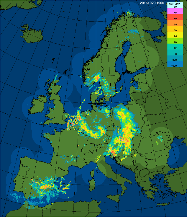 The assembled radar image from Eumetnet/OPERA gives every 15 minutes an overview of the precipitation over Europe