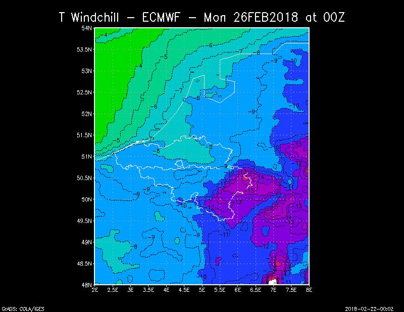 Température sensible(ressentie) pour la nuit de lundi à mardi à 00hUTC, calculée à partir des prévisions du modèle de prévisions numériques ECMWF