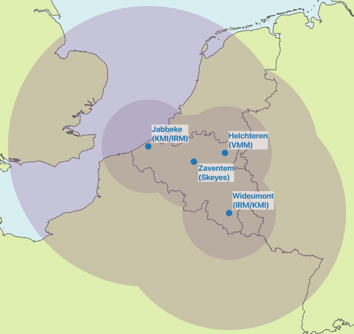 Het Belgisch netwerk van meteorologische radars.
