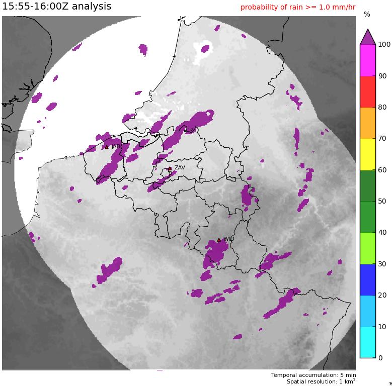 Kaart met de waarschijnlijkheid op matige neerslag (>1mm/uur) op basis van de observatie een uur eerder.