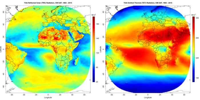 Figuur 1 en 2: Gemiddelde weerkaatste zonne-energie (links) en uitgestraalde thermische energie (rechts) per oppervlakte-eenheid, bovenaan de atmosfeer over de periode 1983–2015.