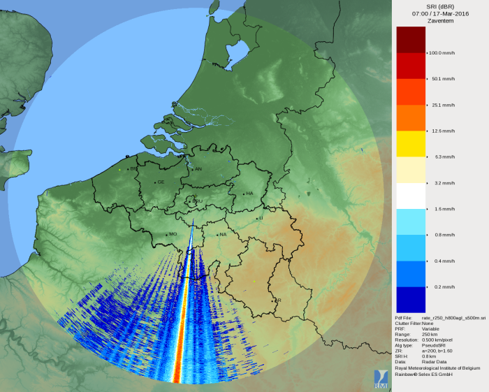Zeer sterke storing van een zender in de beelden van de radar van Zaventem