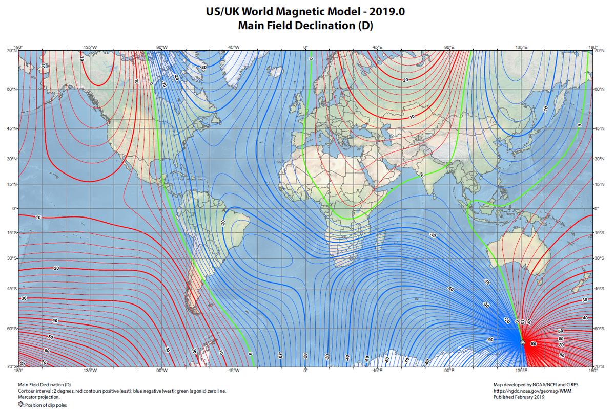 Waarden van de magnetische declinatie in de wereld begin 2019 volgens het WMM. Dit model werd ontwikkeld op basis van geomagnetische gegevens gemeten door satellieten (momenteel de ESA Swarm-missie) en de magnetische waarnemingscentra (die de aarde onvolledig bedekken).