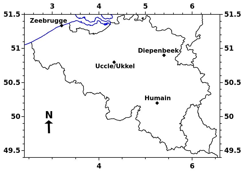 Op deze kaart van België kunt u zien waar de LIDAR-ceilometers van het KMI zich bevinden.